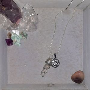 Raw Clear Quartz and Silver Pentacle Necklace